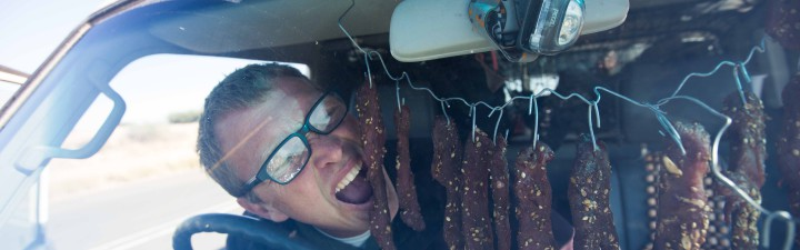 Justin Bonello makes biltong in car. Bar Tips. Road tripping. News 24. Myth Busted.